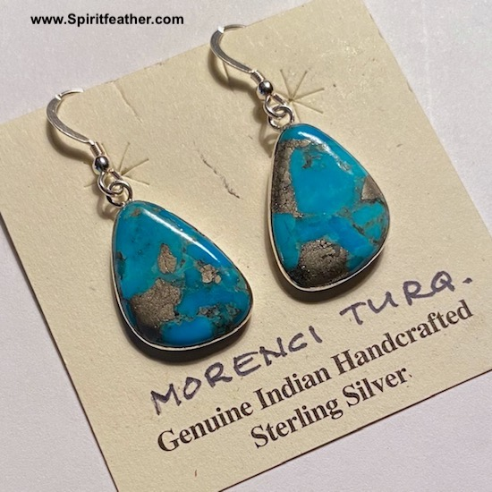 Sterling Silver and Morenci Turquoise Earrings