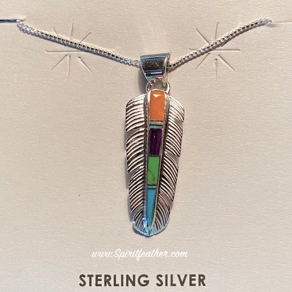Sterling Silver Inlay Feather Pendant and Sterling Silver Chain - Multi-Colored Inlay