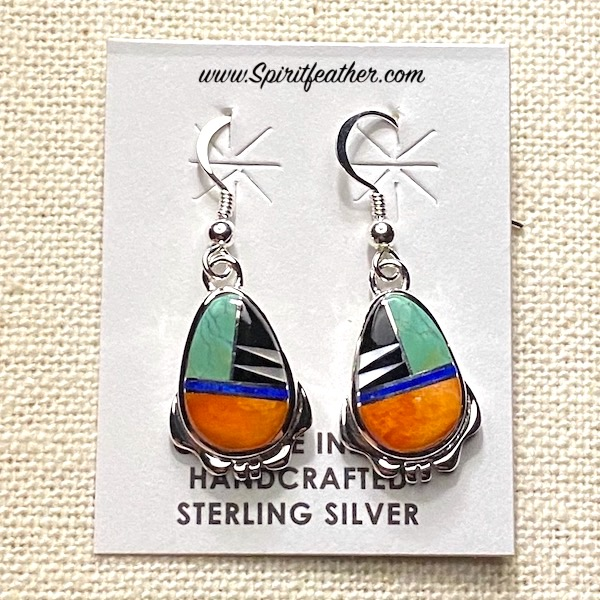 Multi-colored Earrings in Sterling Silver and Fine Inlay