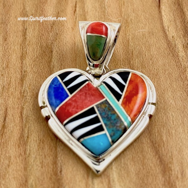 Multi-colored Inlaid Heart Pendant