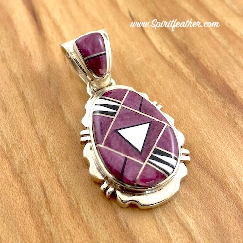 SUPER SALE! Purple Spiny Oyster and White Buffalo Inlay Sterling Silver Triple Layer Pendant SUPER SALE!