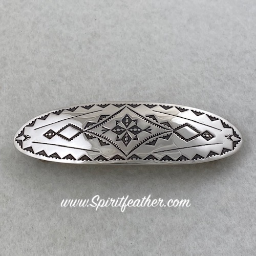 Gorgeous Navajo Sterling Silver Very Detailed Hair Clip