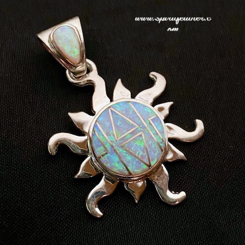 Opal and Sterling Silver Inlaid Sun Pendant