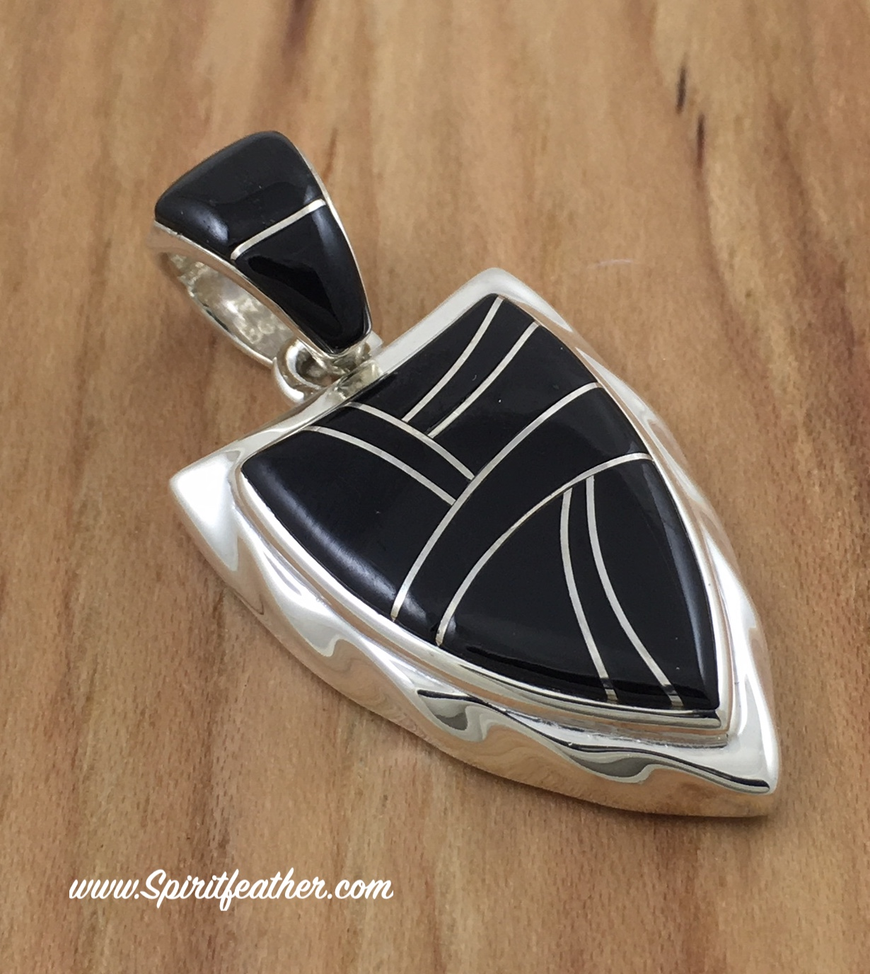 Black Jade and Sterling Silver Arrowhead Pendant 2-sided