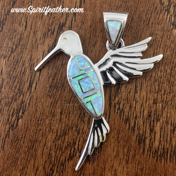 White Opal with Blue Green Tint Hummingbird Pendant