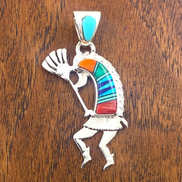 Multi-Colored Kokopelli Sterling Silver Pendant