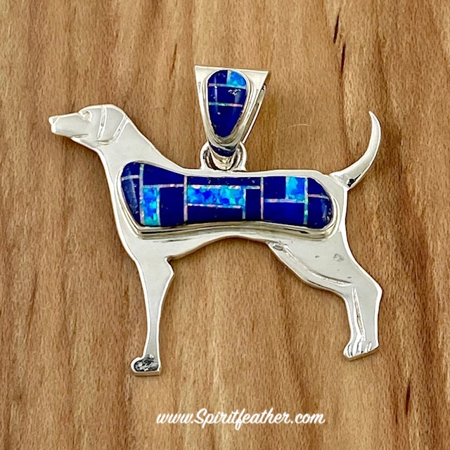 Lapis Lazuli and Blue Opal Dog Pendant by Marty Yazzie