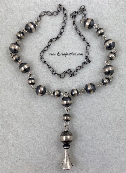 Navajo Pearl Sterling Silver Necklace with Squash Blossom Bead