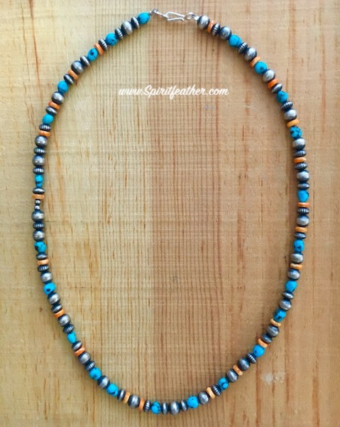Navajo Pearl Sterling Silver, Turquoise and Spiny Oyster Bead Necklace