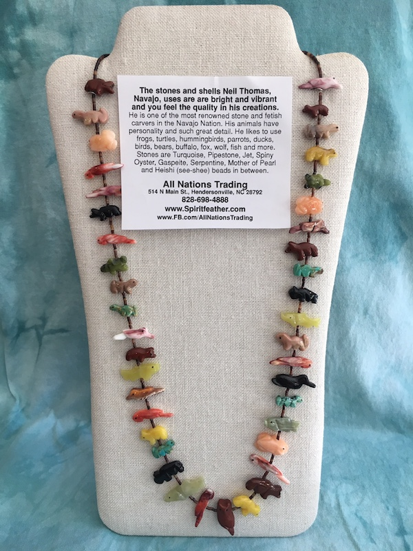 Fetish necklace - Stacked very long, 41 mixed animals Neil Thomas, Navajo
