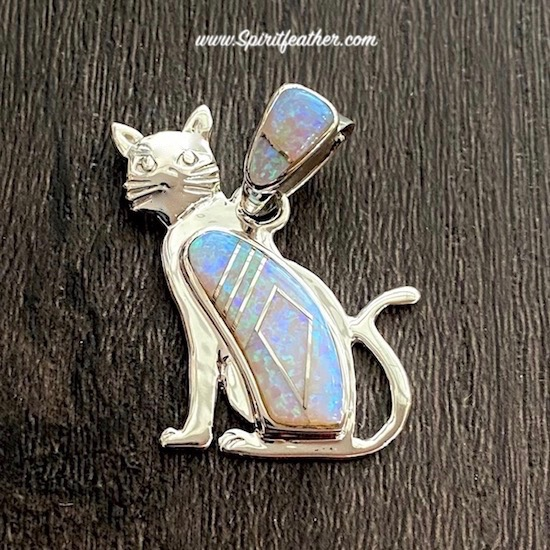 All Opal Cat pendant by Edison Yazzie