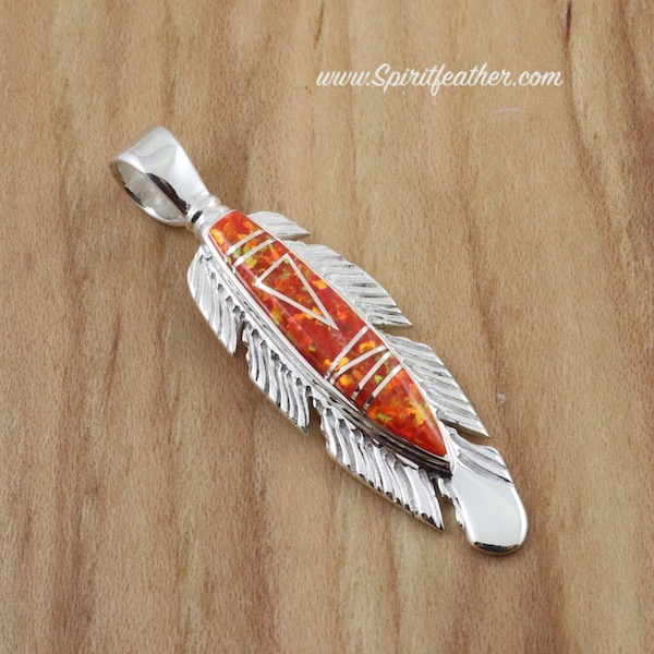 Opal Inlay Sterling Silver Feather Pendant