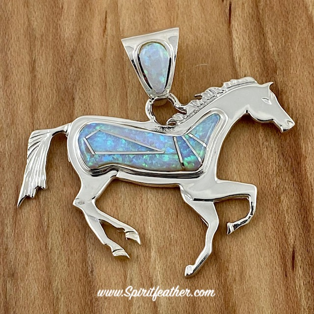 Opal and Sterling Silver Inlay Horse Pendant Opal