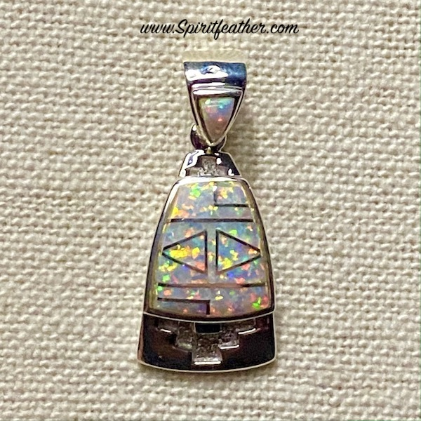 White Opal and Beautiful Sterling Silver Inlay Pendant