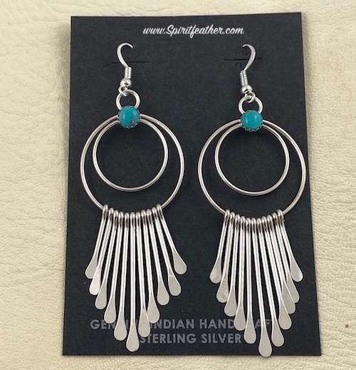 Sterling Silver tapered LARGE dangle earrings by Pauline Armstrong with Turquoise Nugget