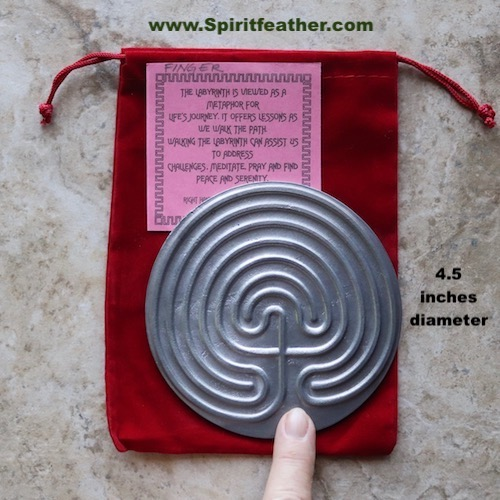 Cretan desktop pewter labyrinth 4.5 inch wide use with your finger