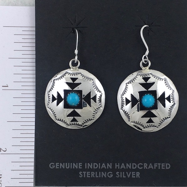 Sterling Silver Rug Pattern Shadowbox with Turquoise Nugget Earrings
