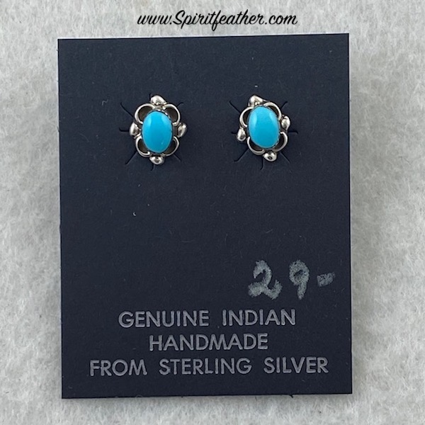 Small Sweet Turquoise and Sterling Silver Earrings