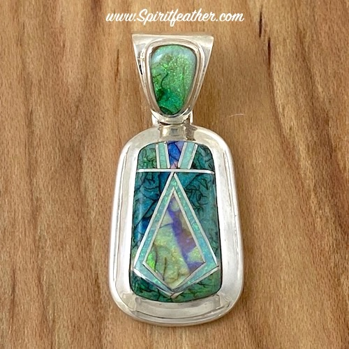 Spider Web Opal Sterling Silver Inlaid Pendant