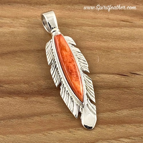 Spiny Oyster Sterling Silver Feather Pendant