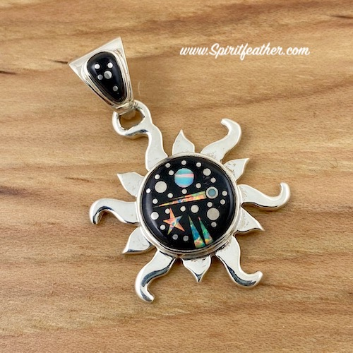 Sterling Silver Inlay Sun Pendant in Starry Night Design