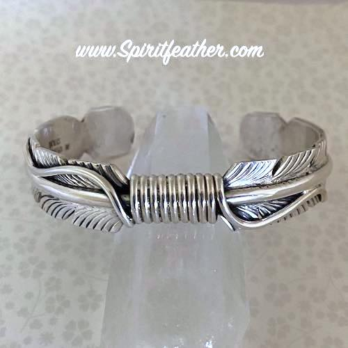 Sterling Silver Feather Bracelet Heavy Gauge