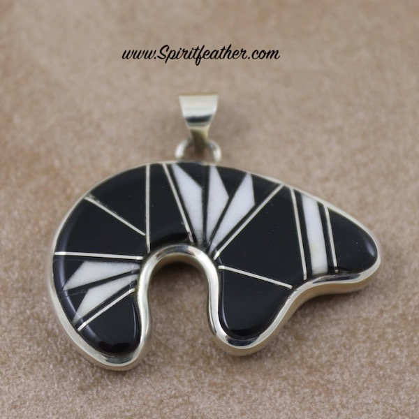Black and White Sterling Silver Inlay Two-sided Inlaid Bear Pendant
