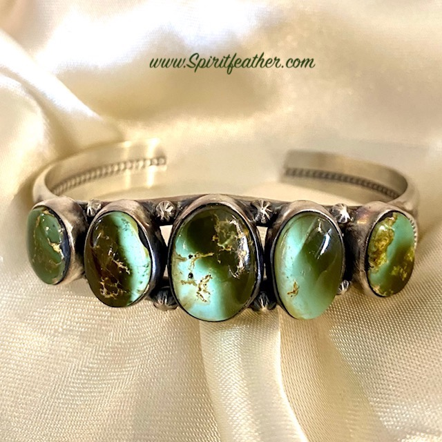 King's Manassa Turquoise and Sterling Silver Bracelet by Thomas Francisco