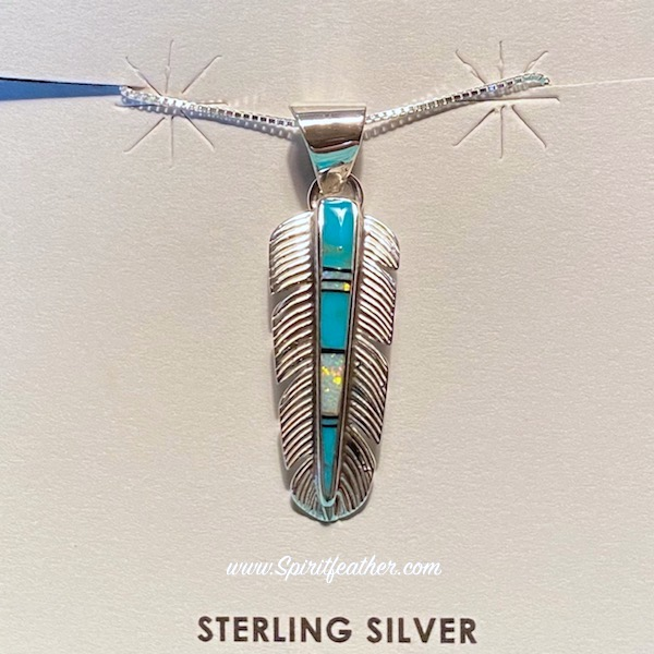 Sterling Silver Inlay Feather Pendant and Sterling Silver Chain - Turquoise and Opal