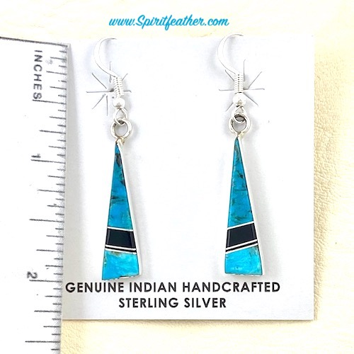 Sterling Silver and Turquoise Inlaid Longer Earrings