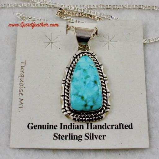 Bright Blue Turquoise Mountain Pendant with Sterling Silver Chain