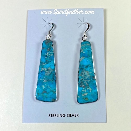 Turquoise Slab Earrings with Sterling Silver border by Veronica Tortalita Santo Domingo Pueblo
