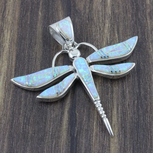 Sterling Silver Dragonfly Pendant Inlaid with White Opal - Large Size