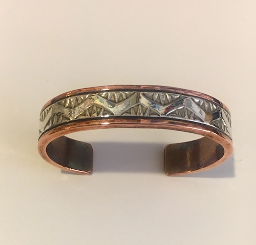 Thick and Heavy Copper and Sterling Silver Cuff Bracelet