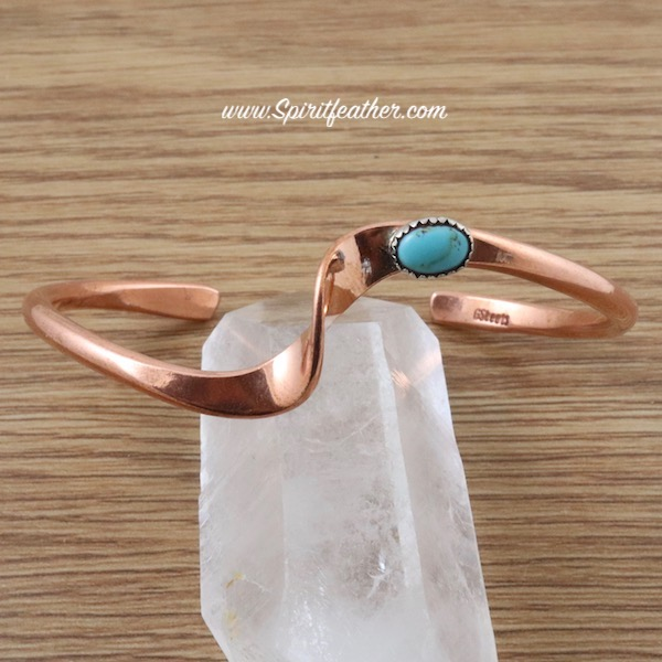 Copper cuff bracelet with wave design with turquoise nugget