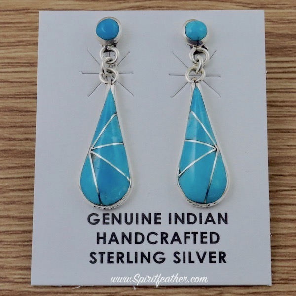 Turquoise and Sterling Silver Zuni Teardrop Earrings