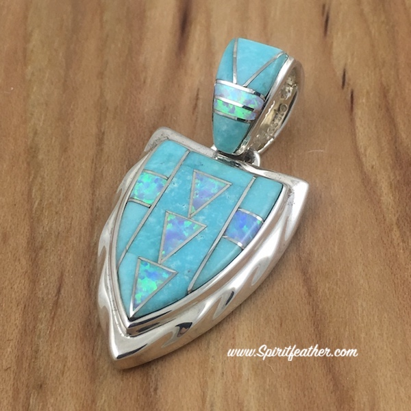 Amazonite and Opal Sterling Silver Arrowhead Pendant 2-sided