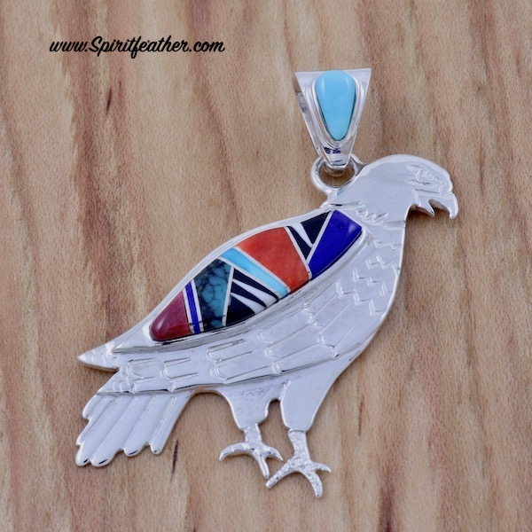 Beautiful Multi-Colored Eagle Pendant
