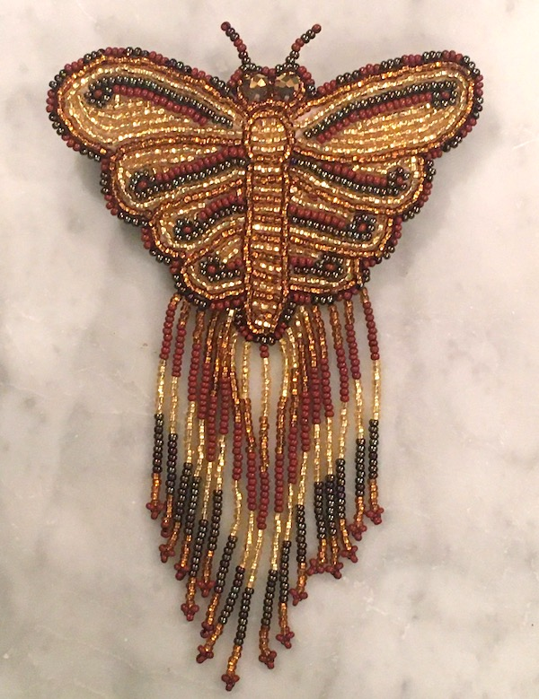 Hand Beaded Butterfly Barrette with Long Fringe Golden Colors