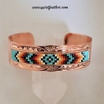 Copper Cuff Bracelet  with Beadwork