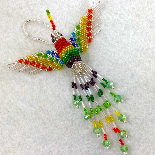 Hand Beaded Hummingbird Ornament Rainbow with Silver