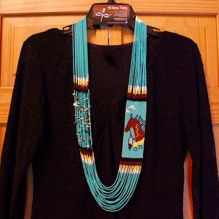 Hand Beaded Necklace Turquoise with Horse Design