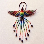 Hand Beaded Hummingbird Ornament Burgundy Rainbow