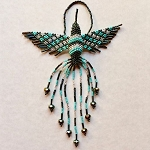 Hand Beaded Hummingbird Ornament Turquoise Silver