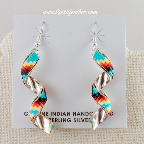 Beadwork on Sterling Silver Spiral Earrings