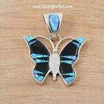 Butterfly Pendant inlaid with Black Jade and Opal in Sterling Silver