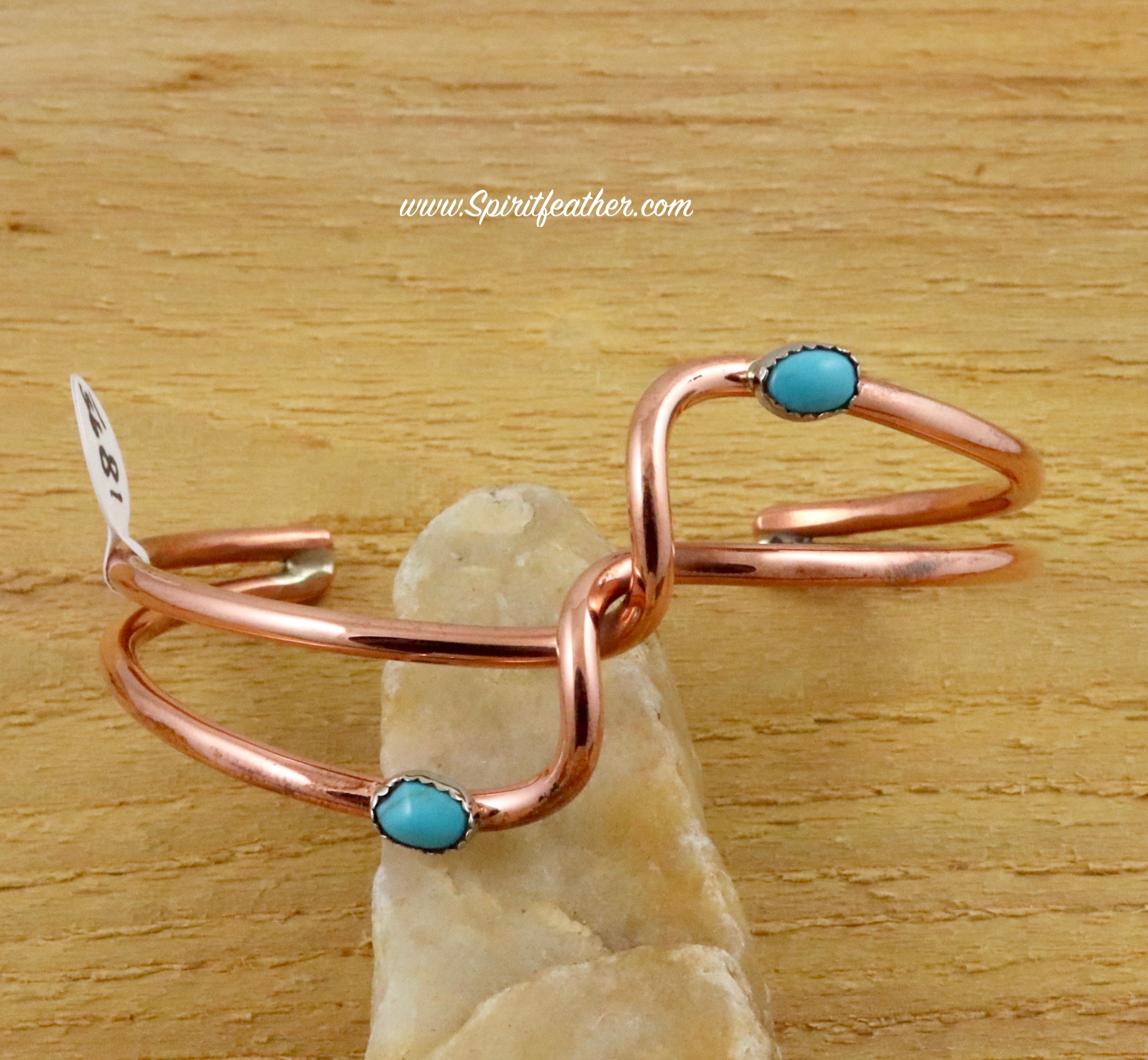 Copper cuff bracelet with double wave design with turquoise nugget