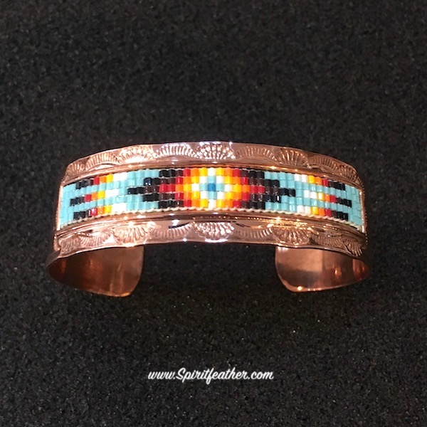 Copper Bracelet with Beadwork
