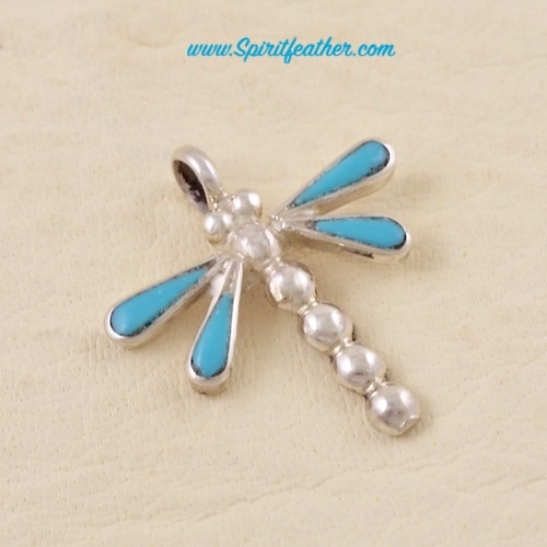 Dragonfly Turquoise and Sterling Silver Pendant - Small