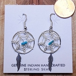 Navajo Sterling Silver Dream Catcher Earring with drop feather